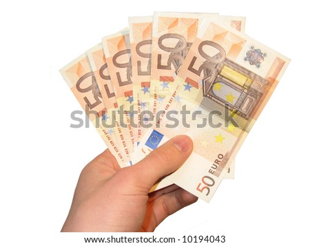 Hand holding fifty euro notes - stock photo