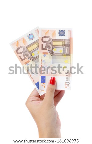 Hand holding fifty-euro notes. Isolated on a white background. - stock photo