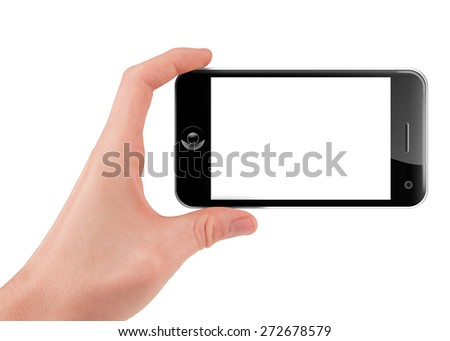 Hand holding (filming or shooting) a smart phone (mobile phone) with blank screen isolated on white