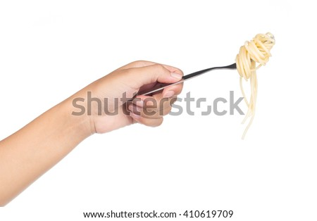 Hand holding fork, eating pasta spaghetti isolated on white background