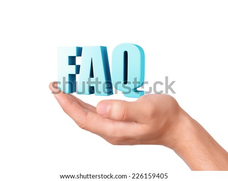 hand holding Frequently Asked Questions. FAQ concept. 3d illustration - stock photo