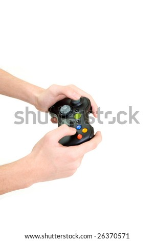 hand holding game controller - stock photo