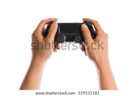 hand holding game controller  isolated on white background - stock photo