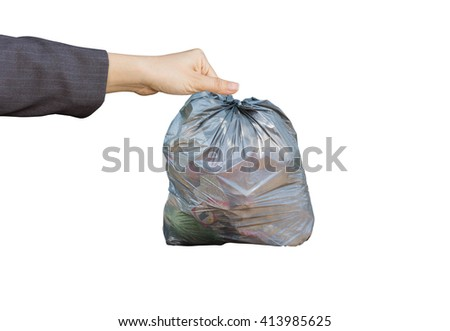 hand holding garbage isolated on white background - stock photo