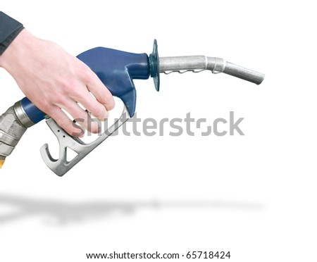 Hand Holding Gas Station Pump Preparing To Refuel Car Isolated On White Background - stock photo