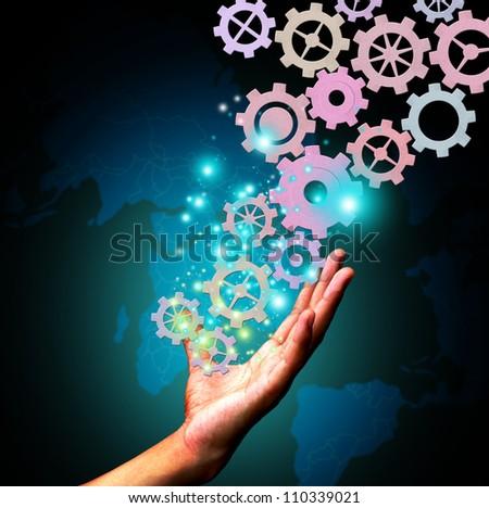 hand holding gear - stock photo