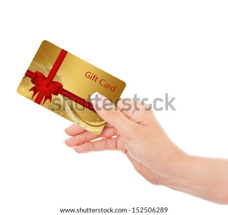 hand holding gift card isolated over white background - stock photo