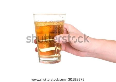 hand holding glass - stock photo