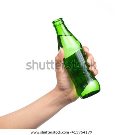 hand holding Glass bottle of aerated soft drink Isolated on white background - stock photo