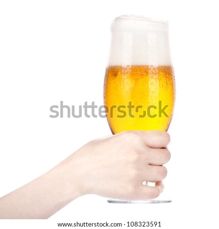 hand holding glass of beer isolated on a white background.making toast