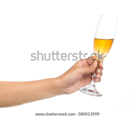 hand holding glass of champagne isolated on white background