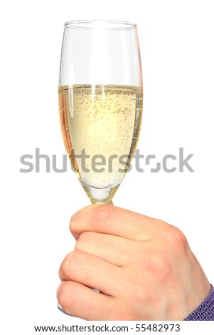 Hand holding glass of champagne isolated on white background - stock photo
