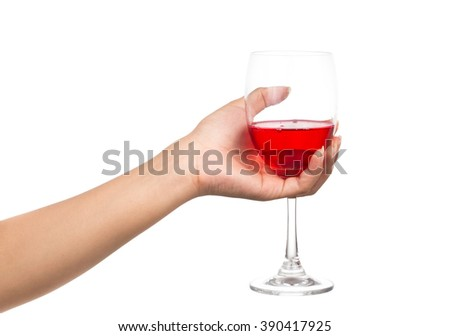 hand holding glass of red wine isolated on white background