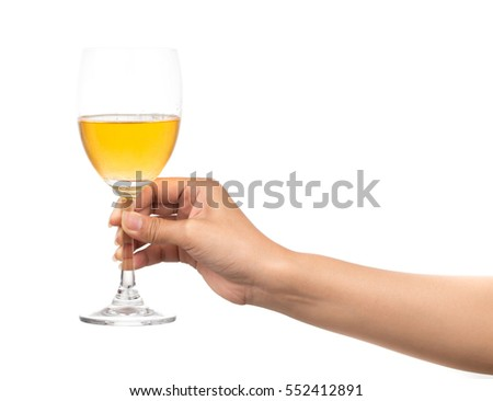 hand holding glass of wine isolated on white background