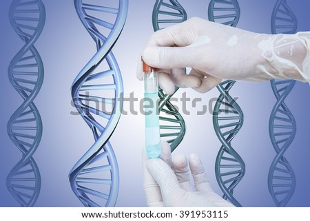 Hand holding glass tube with blue liquid inside, and DNA background