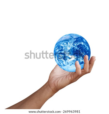 Hand holding global Earth in palm Elements of this image furnished by NASA - stock photo