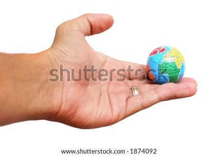 Hand holding globe of the earth over white background - stock photo