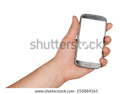 Hand holding gray Smartphone with blank screen on white background - stock photo
