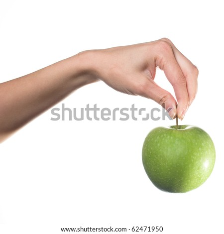 Hand holding green apple. Eco concept. - stock photo