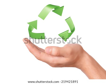 hand holding green Recycling symbol. ecology concept on white background - stock photo