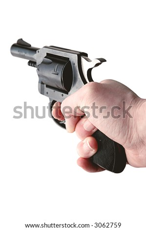 hand holding gun - isolated on white