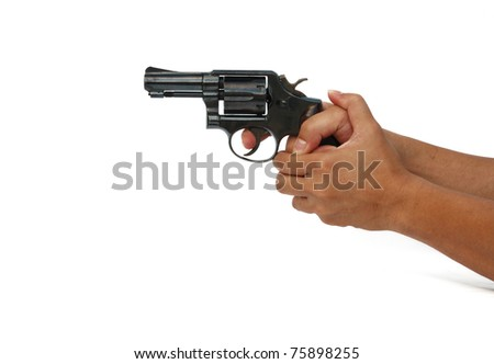 hand holding gun isolated on white background - stock photo