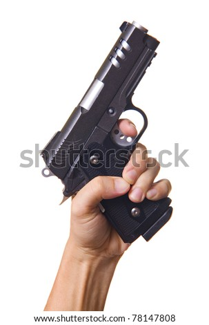 hand holding gun isolated on white background - stock photo