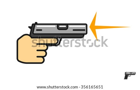 Hand holding gun shooting illustration, shot flash, shooting range logo, pistol flat icon, shooting gallery school linear symbol, outline label modern design isolated on white image