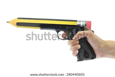 Hand holding gun with pencil point isolated on white - stock photo