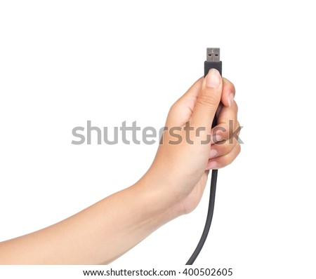 hand holding HDMI cable isolated on white background