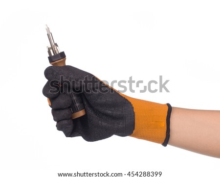 hand holding hexagon Screwdriver metal bits isolated on white background - stock photo