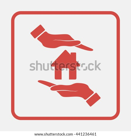 Hand holding house. - stock photo