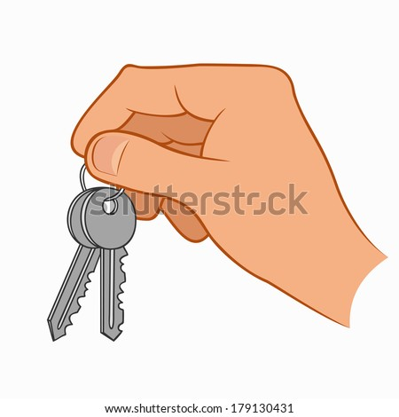 Hand holding house keys isolated on a white background - stock photo