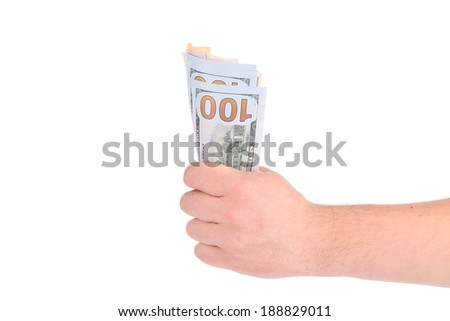 Hand holding hundred dollar bills. Isolated on a white background. - stock photo