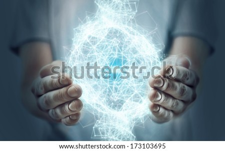 hand holding interface, social media concept - stock photo