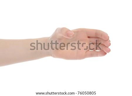 hand holding invisible bottle. Isolated on white background - stock photo