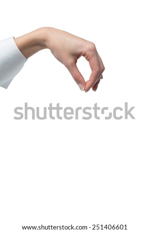 hand holding invisible object on white background - stock photo