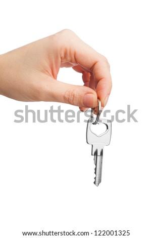 hand holding key isolated on white - stock photo