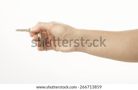 Hand holding keys on white
