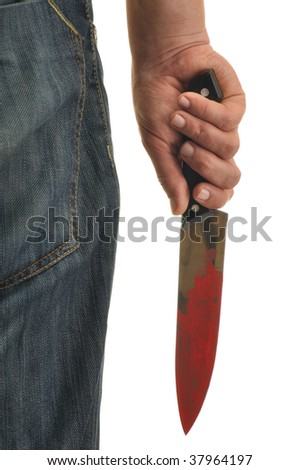 Hand holding knife with blood isolated on white - stock photo