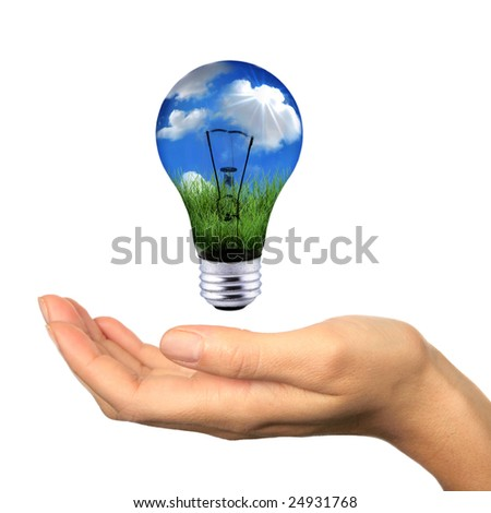 Hand Holding Lighbulb Concept of Clean Renewable Energy of the Future - stock photo
