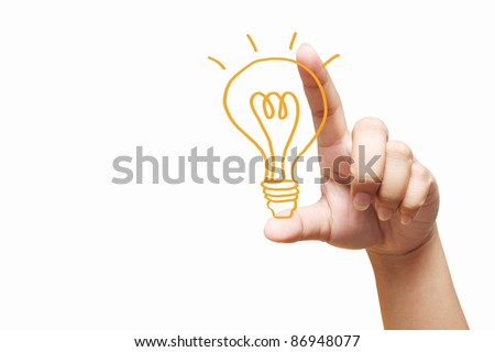 hand holding light bulb. Isolated on white background - stock photo