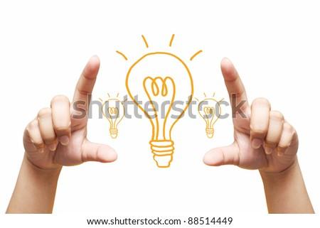 hand holding light bulb. Isolated on white background - stock photo