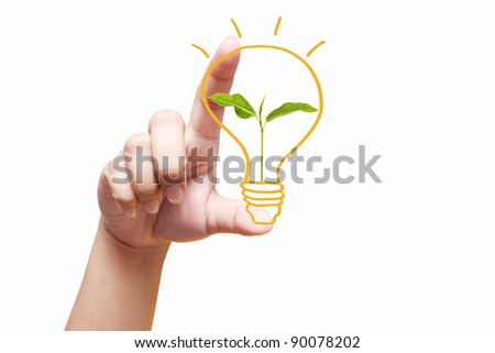 hand holding light bulb. Isolated on white background,young plant in a light bulb - stock photo