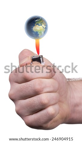 Hand holding lighter below the earth shape isolated on white. - stock photo
