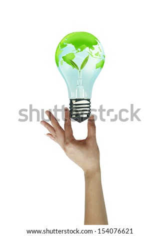 Hand holding litgh bulb  . concept love the earth. - stock photo
