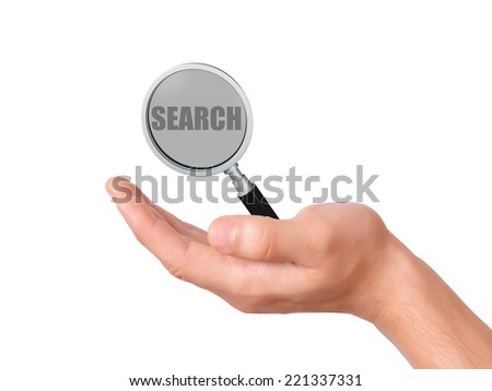 hand holding magnifier glass with search text on white background - stock photo