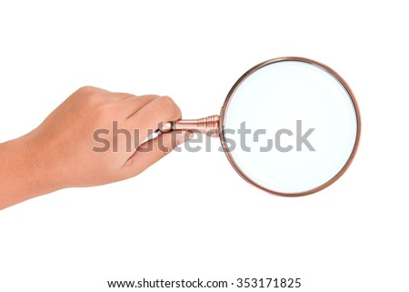 Hand holding magnifying glass isolated on white background. This has clipping path. - stock photo