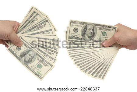 Hand holding many of dollar banknotes. Over white