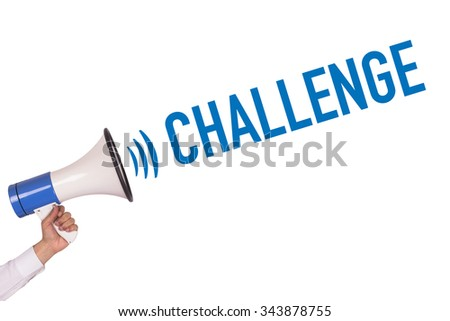 Hand Holding Megaphone with CHALLENGE Announcement - stock photo